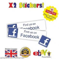 Find Us On Facebook Printed Vinyl Sticker Suitable For Car Van Shop 150mm x 40mm